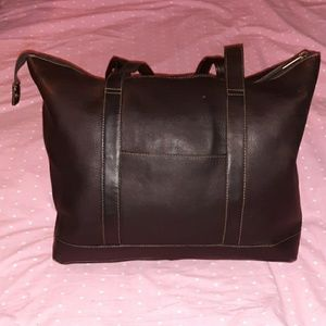 Le Donne Large Brown Genuine Leather Tote Bag